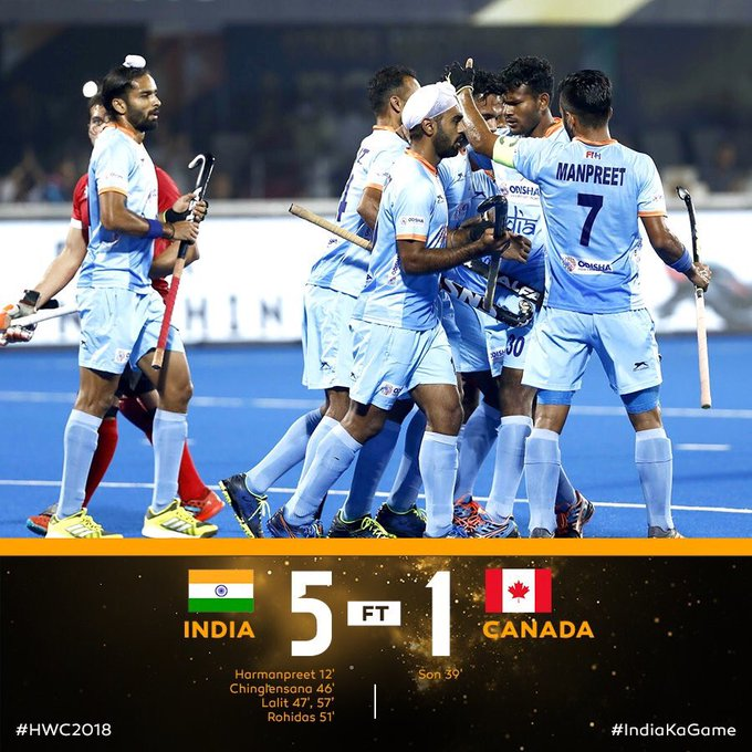 Congratulations @TheHockeyIndia India 🇮🇳 Thrash Canada By 5-1 To Qualify For The Quarter-finals Of The Hockey World Cup. What A Victory. Best wishes for the quarter finals #HWC2018 #INDvCAN @TheHockeyIndia Photo