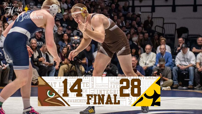 #FinalScore: Lehigh wins three of the final four bouts with three bonus point wins but Iowa won the first six to take the dual in Iowa City. Photo