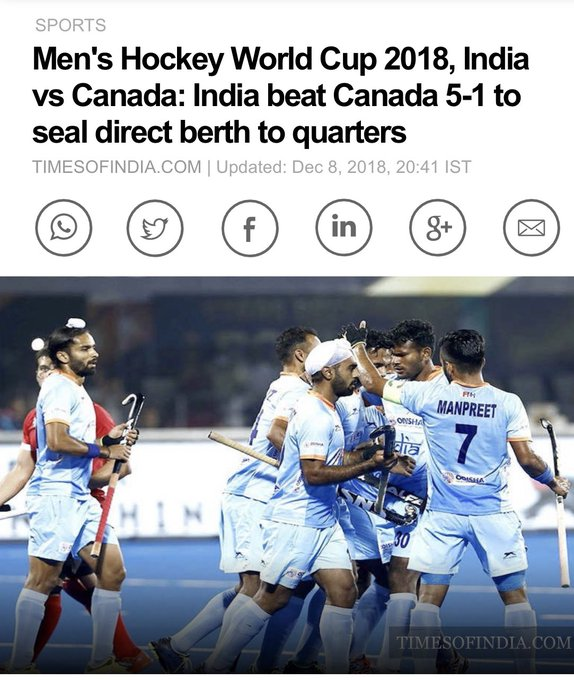 Chak De India! Let's win 🥇 in this @TheHockeyIndia #HockeyWorldCup2018 #INDvCAN Photo