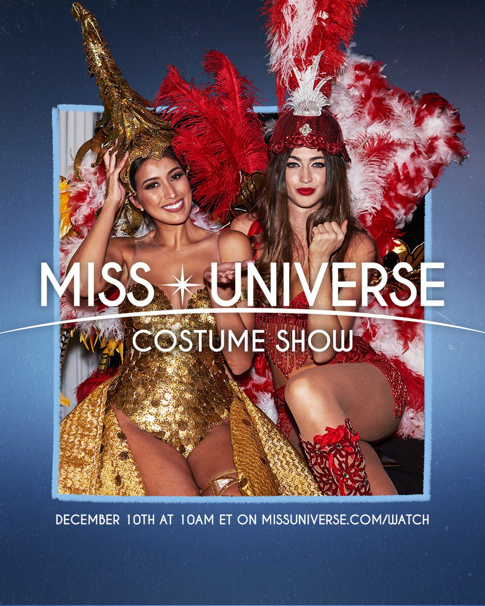 NATIONAL COSTUME SHOW! 🎉 Streaming tomorrow, Dec 10 at 10am ET // 10pm GMT +7 only on https://t.co/GHssjY4pMw 🌟 #MissUniverse  ... Which national costume are you excited to see?
