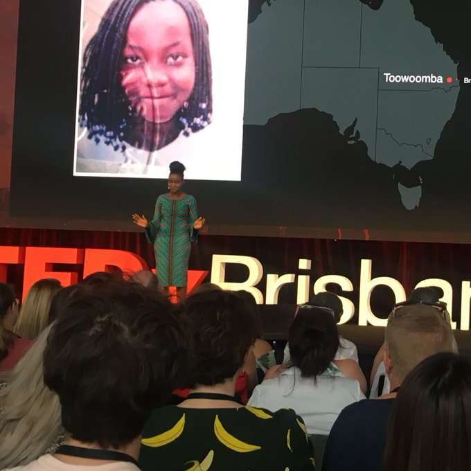 """We can erase racism one story at a time."" @prudencemelom sharing her experiences of storytelling and activism with @ErasedR at #TedXBrisbane Photo"