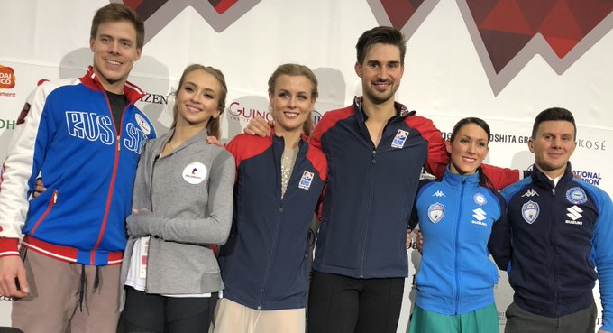 Madison Hubbell and Zachary Donohue of the are the ice dance champions at #GPFVancouver. Rounding out the medalists are Victoria Sinitsina/Nikita Katsalapov of Russia and Italy's Charlene Guignard and Marco Fabbri. #GPFigure Photo