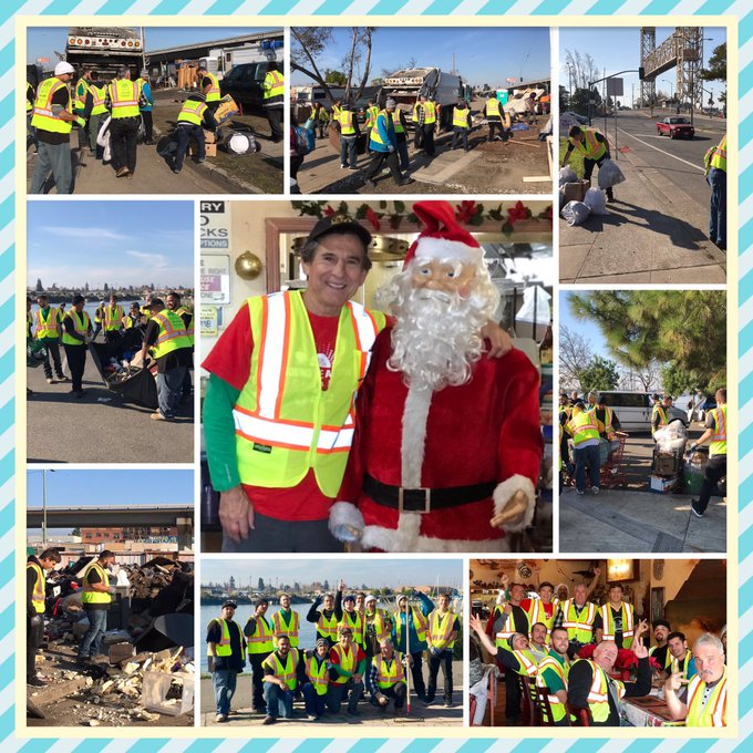 CLEAN OAKLAND, SAT.,: THANKS TO OUR VOLUNTEERS- VICTORY OUTREACH, NEIGHBORS, & A SPECIAL VISIT FROM SANTA🎅WE SERVE GOD BY SERVING OTHERS 🙏🏻🙏🏻❤️❤️ Photo