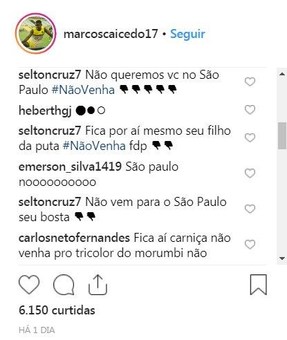 Incrível o nível de demência de alguns torcedores do São Paulo. Marcos Caicedo está sendo especulado no clube e já invadiram a rede social do jogador para Vergonha!! Foto