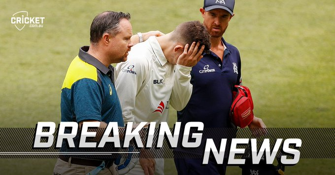 Nic Maddinson taken for scans after being struck by a bouncer at the MCG: #SheffieldShield Photo