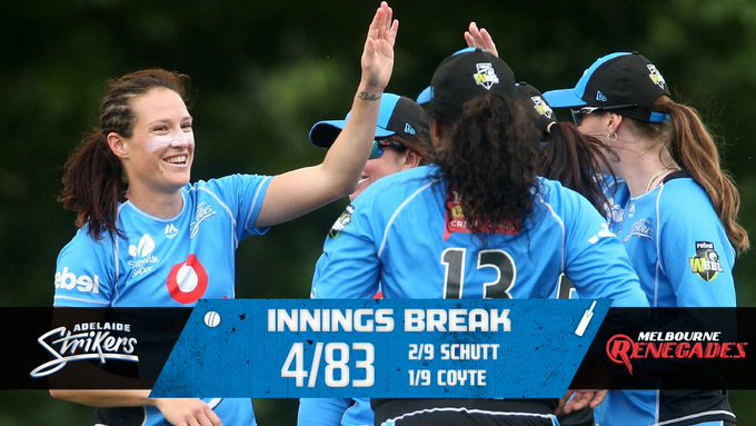 78 is the revised target after some elite work from our bowlers 👌 Sharp chase on the way! #BlueEnergy #WBBL04 Photo