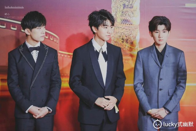 The three of them shoots in the red carpet in a job 17th China Film Huabiao Award . 恭喜 tfboys- congrats tfboys and we are proud of you guys ภาพถ่าย