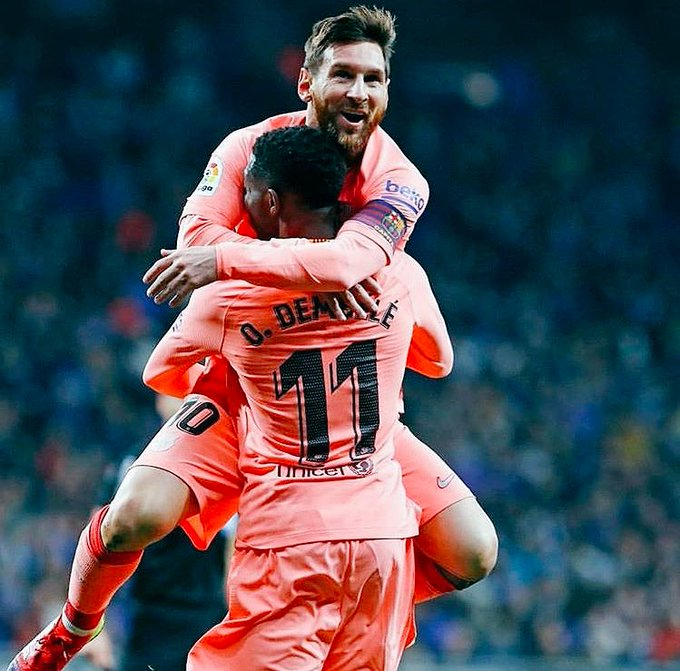 "Messi: Dembele? ""He is fine and today he had a great game, the season is still long and we need everyone."" Photo"