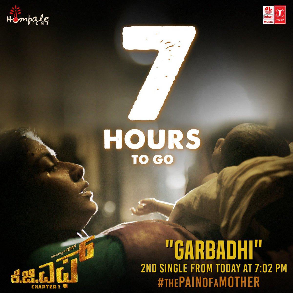 7 hours to go. Second Single from #KGF releasing today at 7:02 PM. Stay tuned to @LahariMusic - http://bit.ly/SubscribeLahari  #Thepainofamother @TheNameIsYash @SrinidhiShetty7 @prashanth_neel @bhuvangowda84 @BasrurRavi @hombalefilms @VishalKOfficial  @VaaraahiCC #KGF21Dec