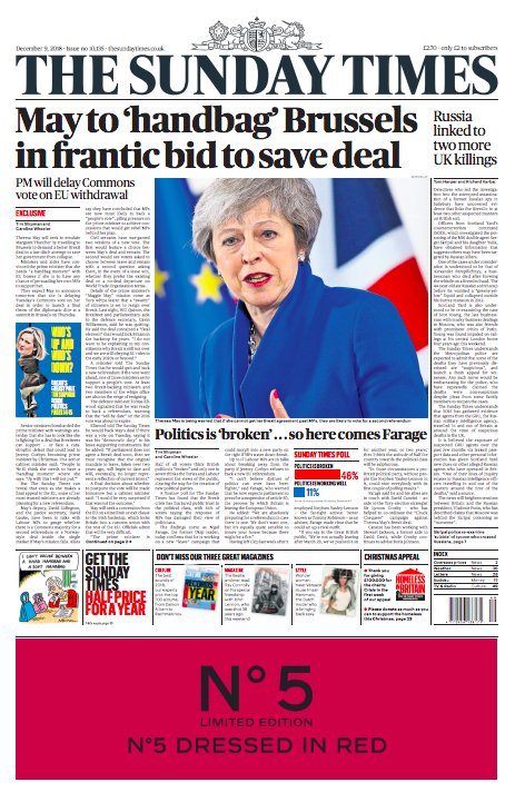 Today's Sunday Times front page: May to 'handbag' Brussels in frantic bid to save deal