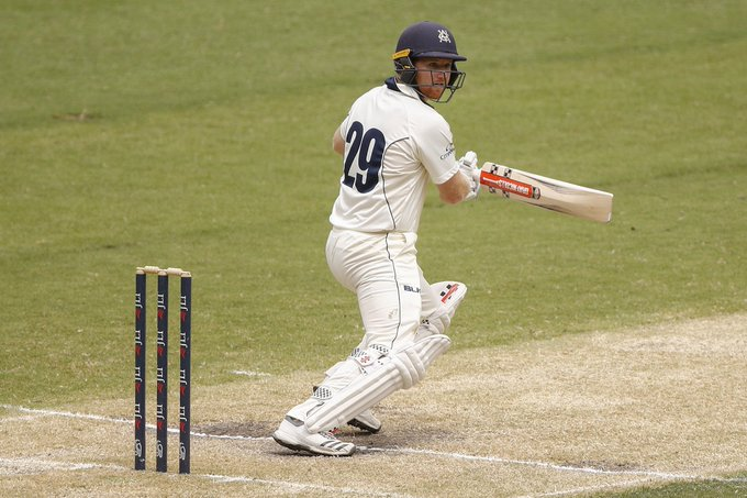 STUMPS | Dean brings up his 50 just before stumps - a brilliant return for the captain! We reach stumps 0-112 with a lead of 240 runs #vicsdoitbetter #SheffieldShield Photo