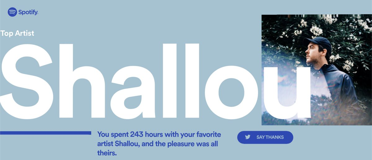 thanks for helping me through all the tough times this year. like I am really so super grateful @shalloumusic @SpotifyUSA  #2018Wrapped  #spotifywrapped <br>http://pic.twitter.com/xho0aVpU8l