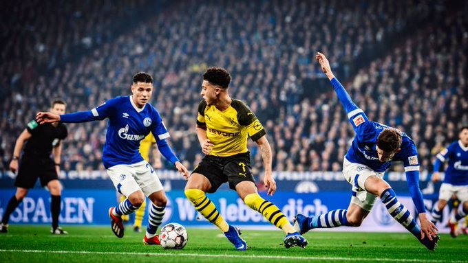Borussia Dortmund record-breaker Jadon Sancho dedicates Revierderby goal to lategrandmother Photo