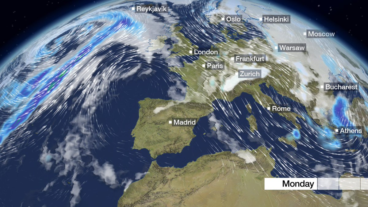 Strong winds continue to blow through parts of France and Germany into Italy. And a skier's delight as snow falls in the Alps. Nick