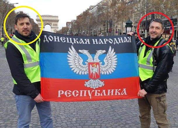 Among the #MarineLePen #GiletsJaunes participants: at least 2 #terrorism collaborators who had illegally visited #Russia-occupied #Donbass #Ukraine to &quot;support the #Novorossyia rebels&quot;. #ParisRiots #France<br>http://pic.twitter.com/R2p8juKCeq
