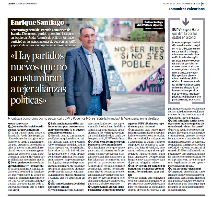 Us deixem l'entrevista que va fer el periòdic @levante_emv al secretari general de @elpce, @ensanro el passat dijous, i que ha eixit en premsa hui  #FemPartit #VuelveElPCE #TornaElPCE