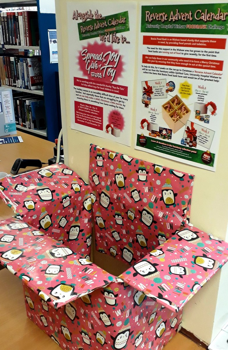 We now have a donation box in @WishawGen Library for the Reverse Advent Calendar!   If you are down here feel free to pop something in the box for the appeal.  We are also taking donations for the shoe box appeal for Scottish Women's Refuge.  Thank you!