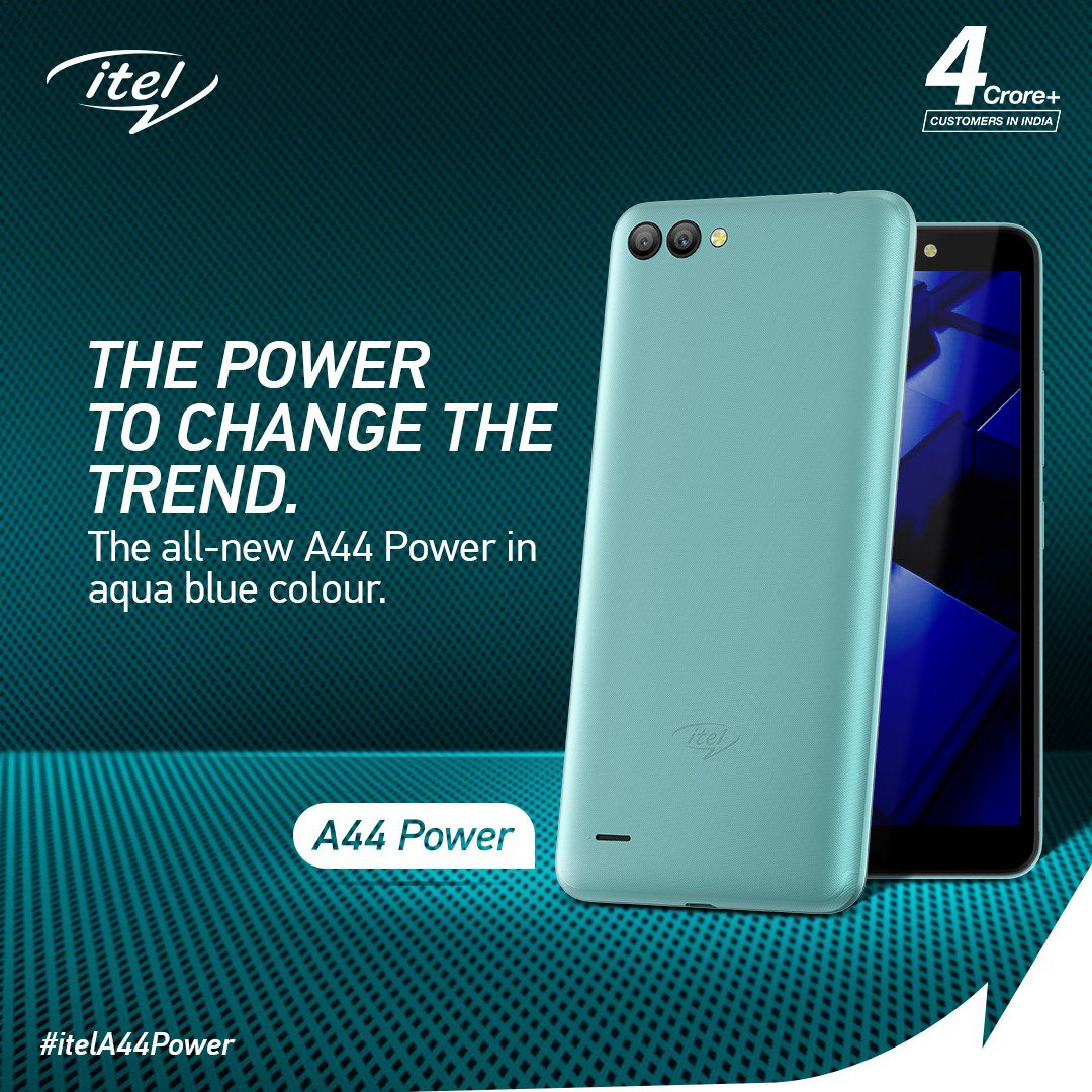itel's power-packed smartphone A44 Power is now available in the most trendy, most stylish and the most soothing color ever! Grab the aqua blue A44 Power smartphone today! #itelA44Power