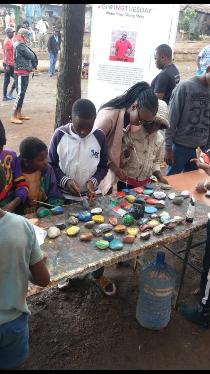 Kids in Kenya painting rocks with good wishes to hide for others to find. #givingtuesday ❤️