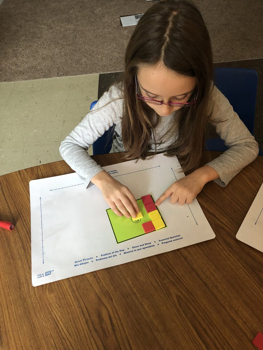 """Today during centers students worked on tiling shapes to determine the area, comparing areas while playing """"Area War"""" and using what they've learned to answer test questions on TenMarks! #WCConnects @CloughPikeElem @WestCler  @mathbarb"""