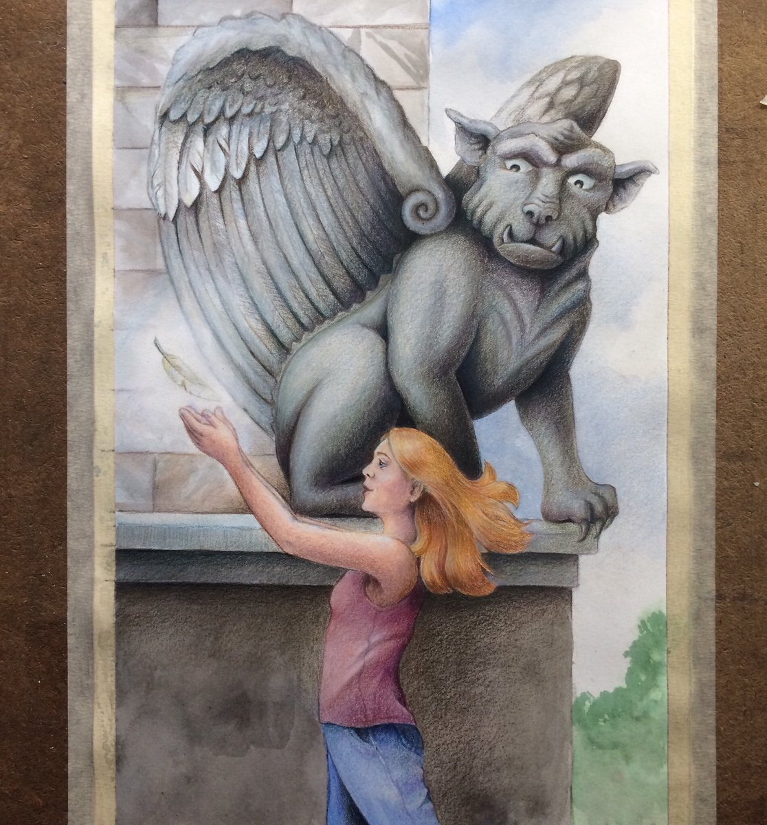 Hoping to finally finish this one today. Just a bit more #colouredpencil layering to go! #workinprogress #gargoyle #coloredpencil #wip #art #artist #create #creative #feather #magic #ink #watercolor #wings #stone #artofinstagram #magical #magicalrealism