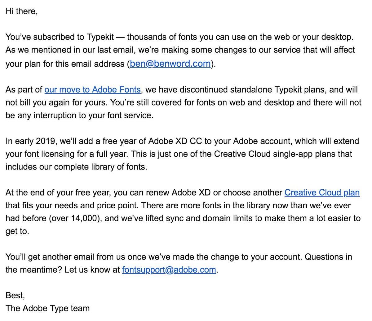 does creative cloud include typekit