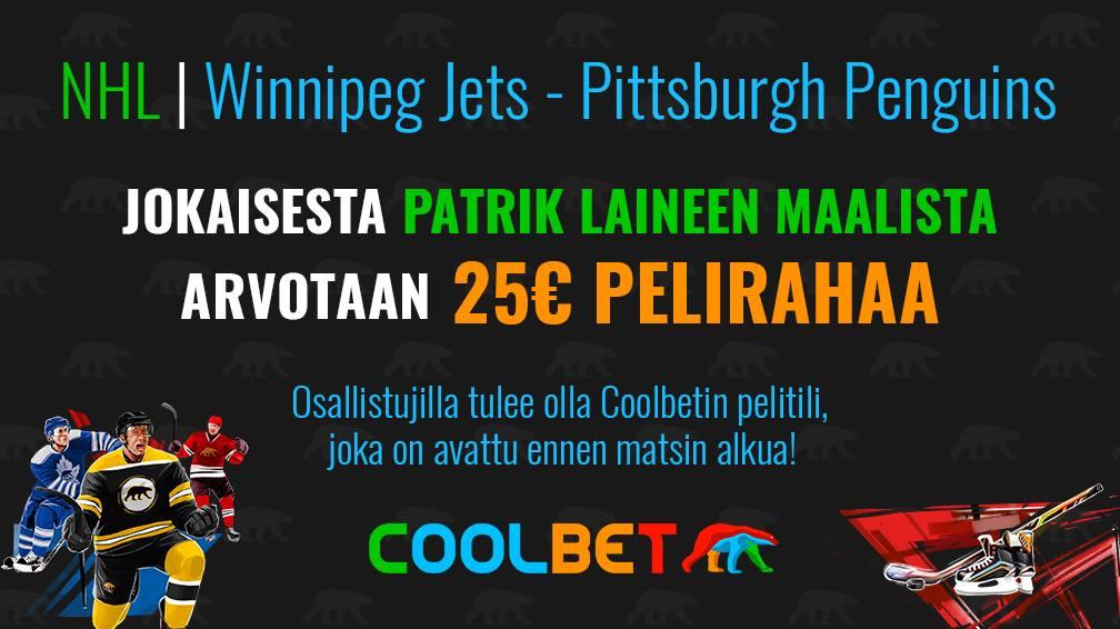 COOLBET-SKABA!  Winnipeg kohtaa ensi yönä Pittsburghin! Jokaisesta Patrik Laineen tekemästä maalista arvotaan 25 € pelirahaa.  Olet mukana arvonnassa, kun painat RT ja seuraat @CoolbetSuomi Twitter-tiliä! #NHLfi #betsit