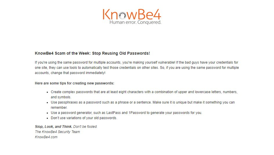 Knowbe4 Test Answers