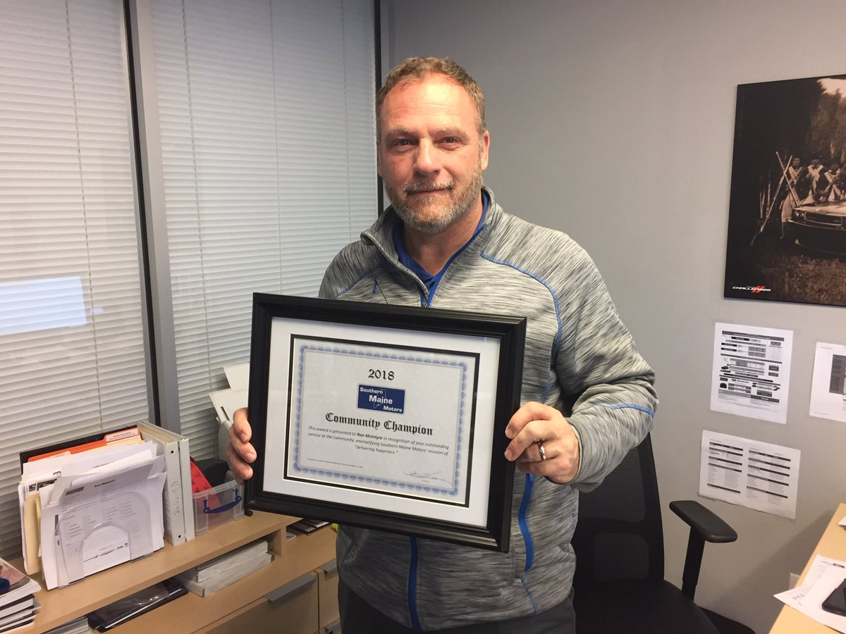 ... Southern Maine Motors Community Champion for 2018! The award recognizes Ron's service to the community during the calendar year, and especially the time ...