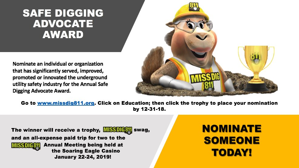 Miss Dig 811 On Twitter Nominate Someone For The Safe Digging Advocate Award Today Https T Co C1d792gyxj Is michigan's utility safety notification system. twitter