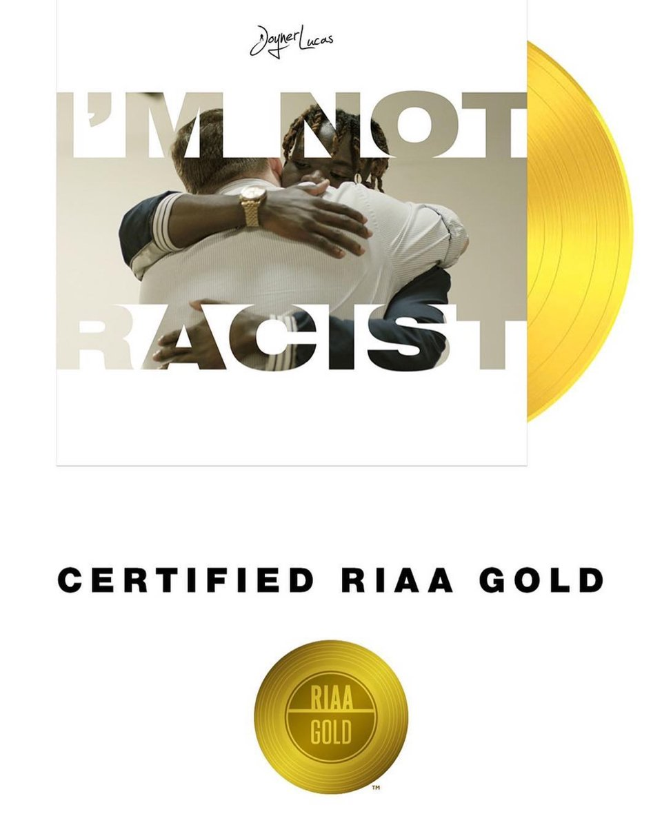We just went gold in the USA thank you @JoynerLucas x @TheBeatPlug congratulations to everyone involved!!! 📀🇺🇸🔥