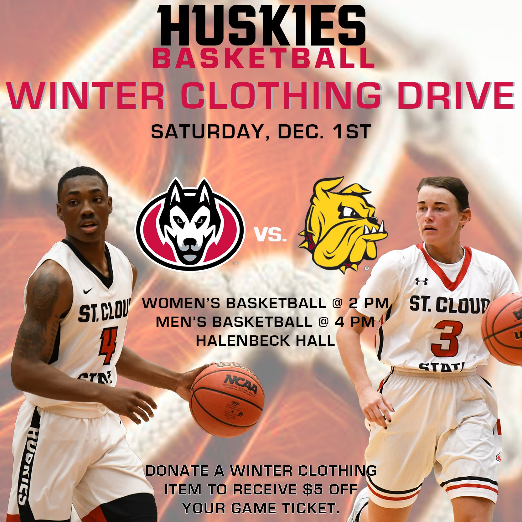 Scsu Huskies On Twitter Basketball Action Is Back As Scsuhuskies Wbb Scsumensbball Open Northernsunconf Action Against The Umdbulldogs On Saturday The Huskies Are Collecting Winter Clothing So Bring In Your Winter Clothing