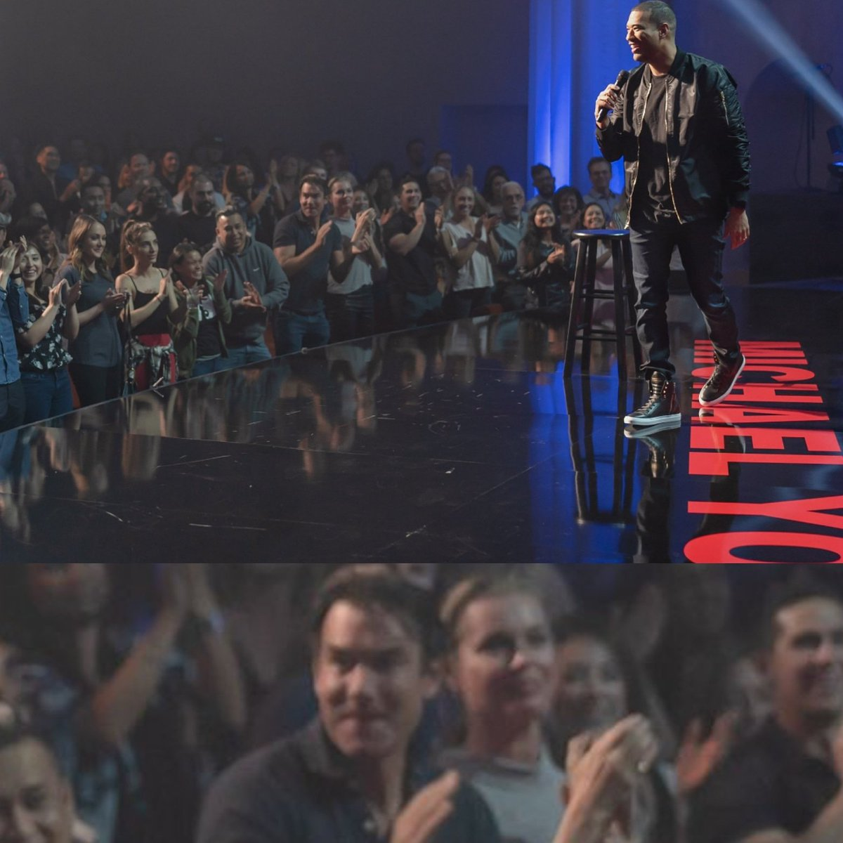 Today @michaelyo Special drops! That is @RebeccaRomijn and I in the front row.
