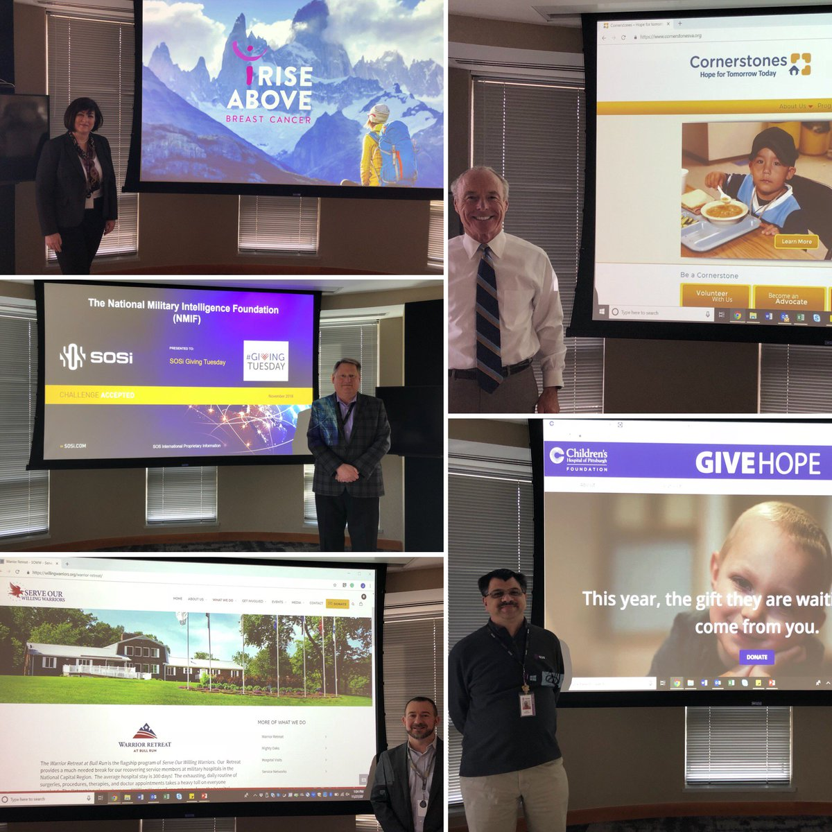 For #GivingTuesday, @SOSi_HQ hosted a pitch contest giving staff the chance to win a SOSi donation for their favorite nonprofit. @ChildrensPgh, @iRise_Above_Now, @cornerstonesva, the National Military Intelligence Foundation, @WincRoyals, and @SOWW_va. Winner announced tomorrow!