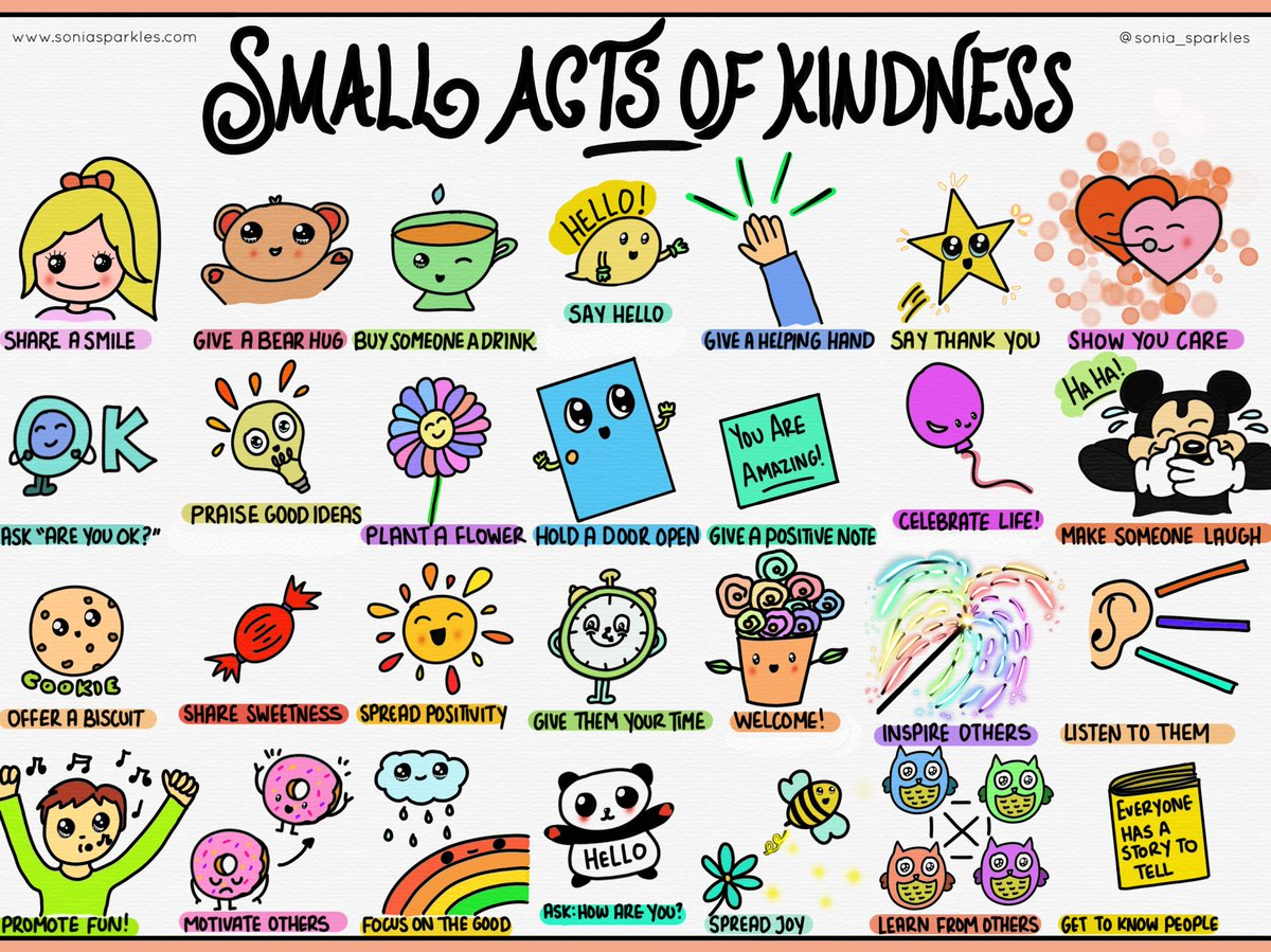 Small acts of #kindness are needed now more than ever. Start with something small, watch it grow.  I've drawn some ideas to help us along the way  #kindnessproject #sketchnotefever  https://soniasparkles.com/2018/11/27/kindness/ … @RespectYourself