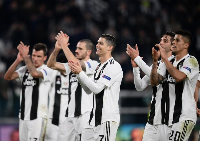 Cristiano Ronaldo and Juventus celebrate Tuesday's win over Valencia in the UEFA Champions League.