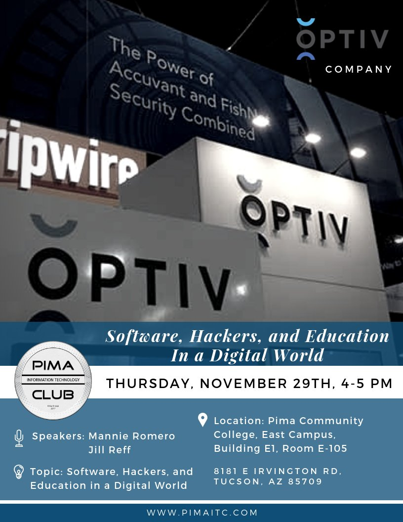 On this Thursday, we are honored to have guests from Optiv Company, the world's leading security solutions integrator, to talk about Software, Hackers, and Education in a digital world!.  Do not miss it, See you there!