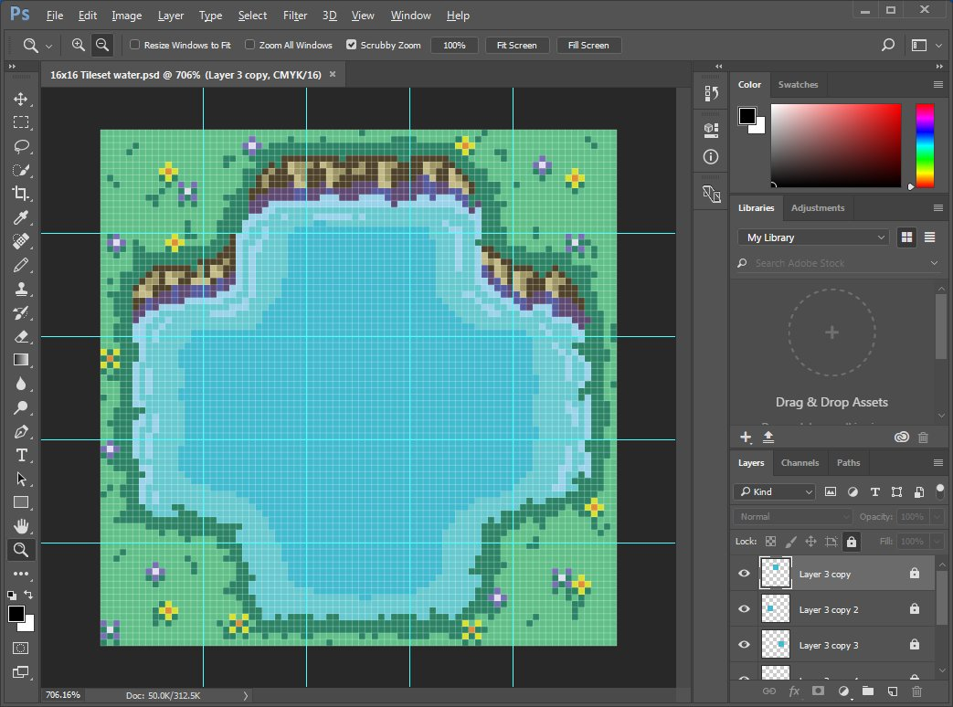 "16X16 Tileset maxwell vador on twitter: ""5x5 overhead grass/shore/water"