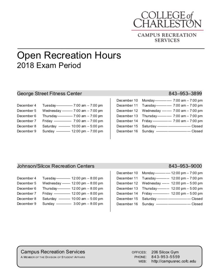 Cofc Campus Rec On Twitter Check Out Our Facility Hours During
