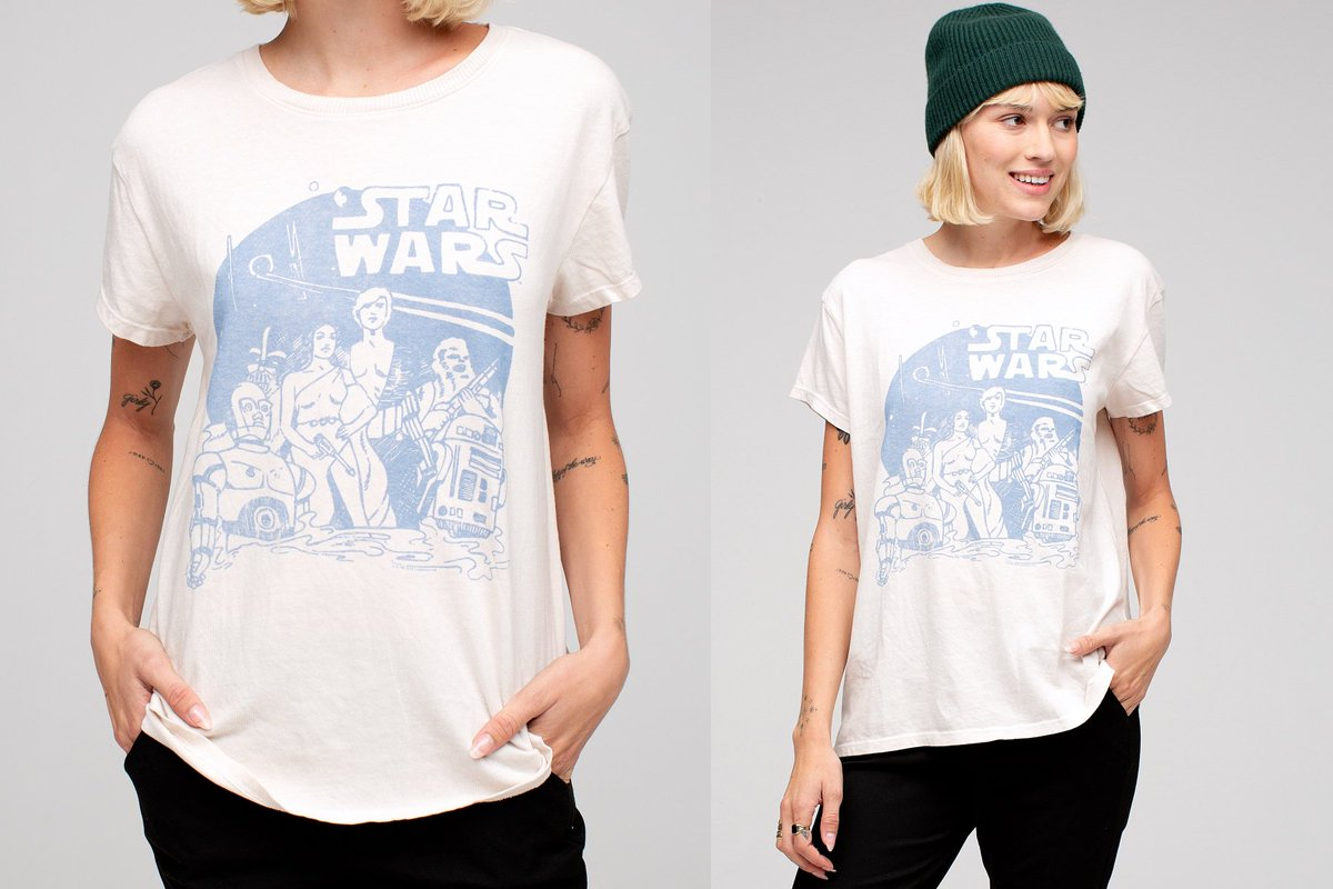 15839669841d9 This women's Star Wars vintage-style t-shirt is available at @JFclothingco  - http://www.thekesselrunway.com/womens-star-wars-tee-by-junk-food-clothing/  …