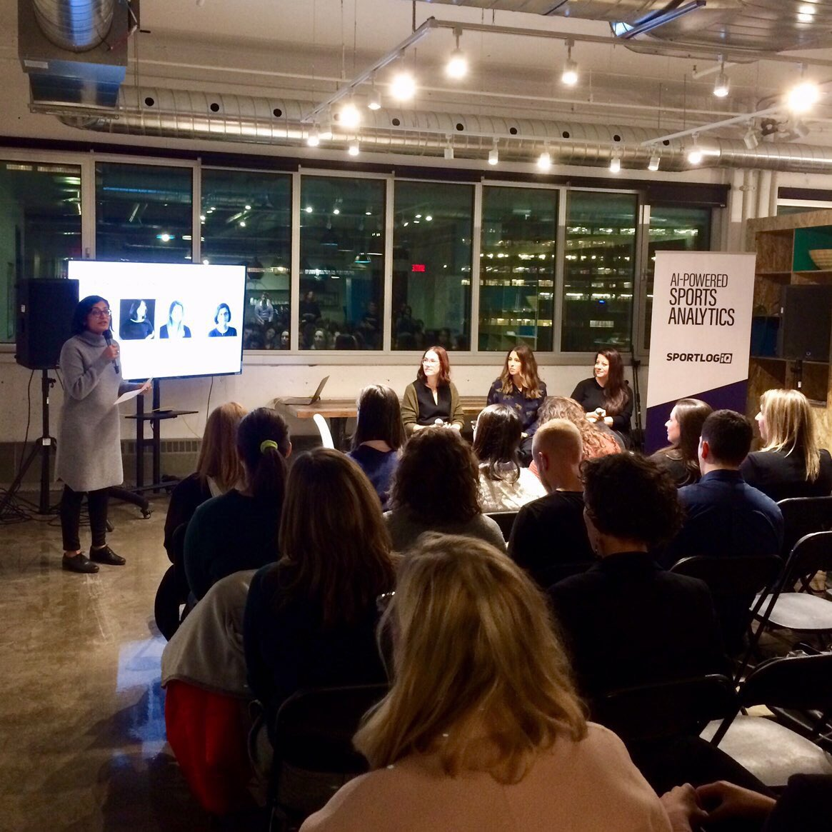 Women of Product Montreal's inaugural event underway @SPORTLOGiQ with panelists @EmilieFournelle @zoltok