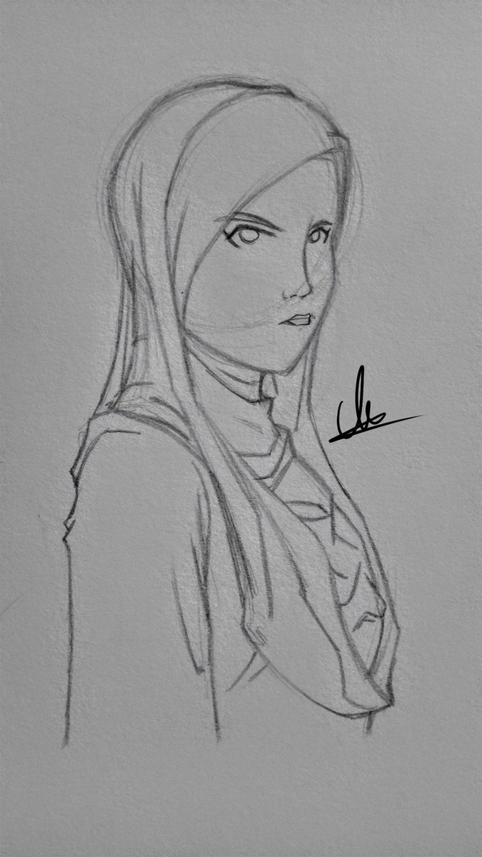 Muaz on twitter oc putri wahida wip 1 pencil drawing muslimah anime hijab characterdesign pencildrawing sketch princess