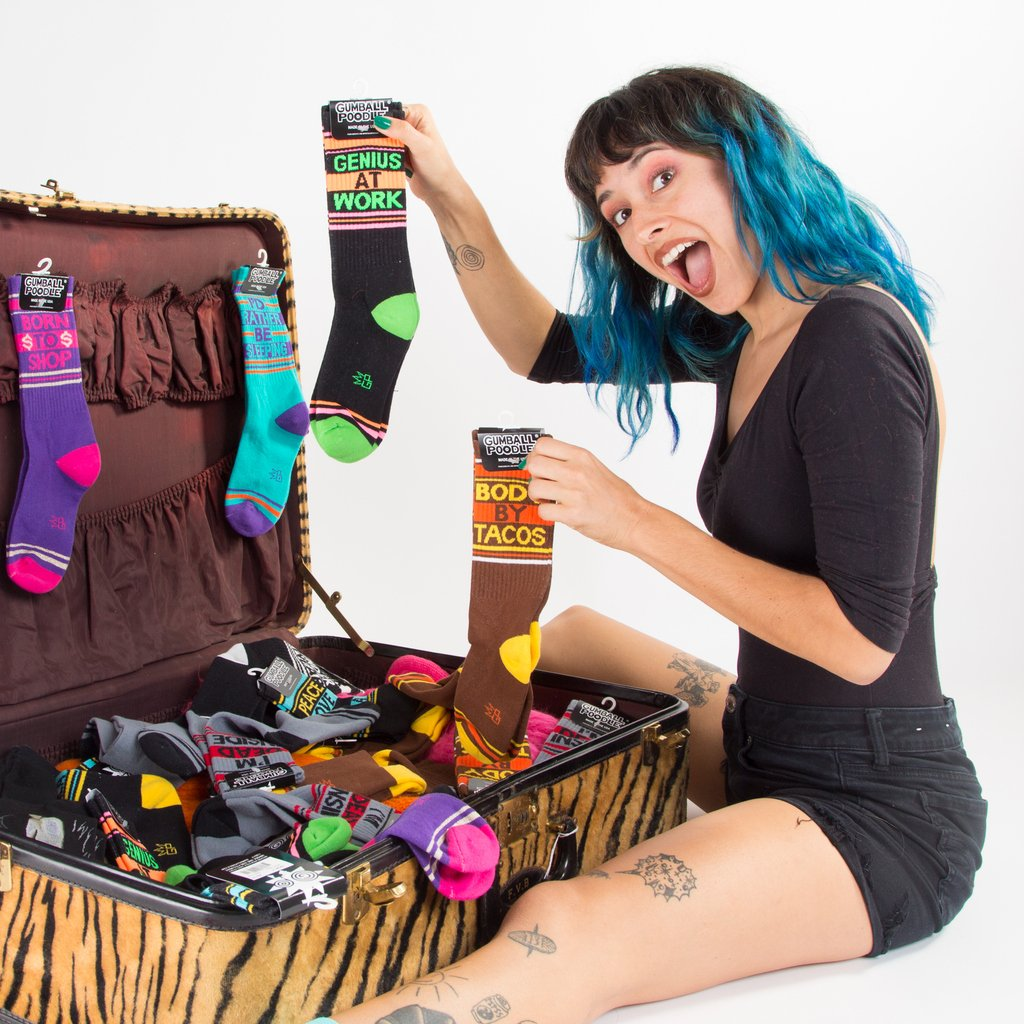 Socks make great gifts! Especially when they are funny, colorful, cozy and cute - just like you😘 #stockingstuffer #giftsunder20 #giftguide #sockjunkie