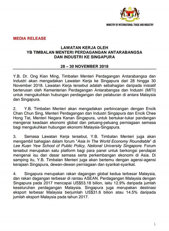 Miti Malaysia On Twitter Media Release Yb Deputy Minister Working Visit To Singapore Darellleiking Imokman Ishamishak2