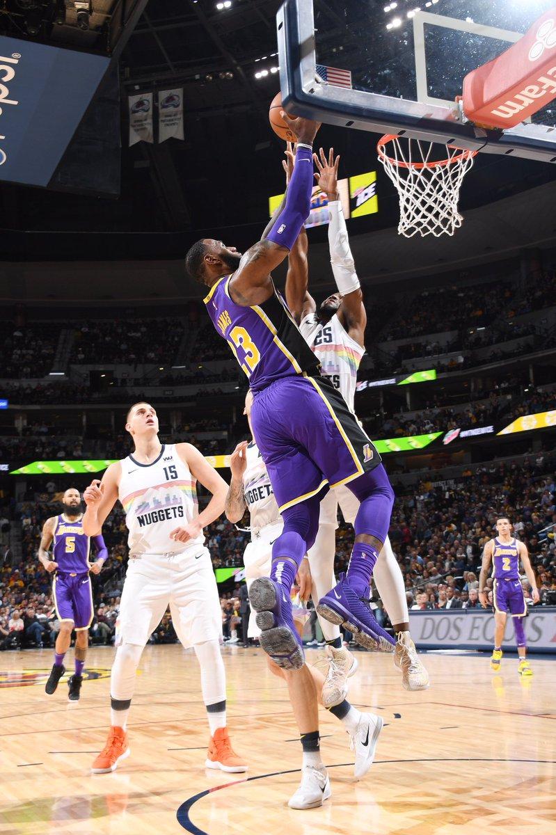 c54e3f375edd KingJames wearing the purple colorway of the Nike LeBron 16 vs. Denver  tonight.pic.twitter.com BspA1Z9sYB