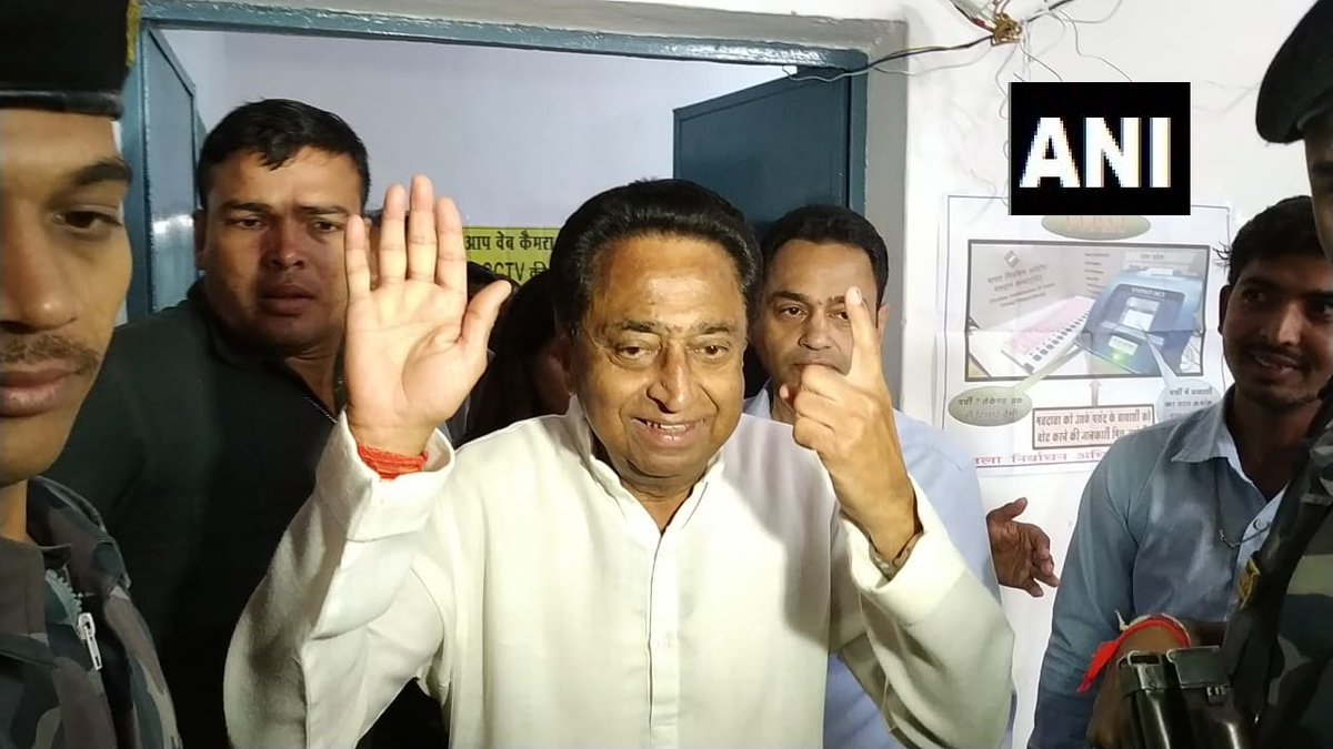 Congress leader Kamal Nath after casting his vote in Chhindwara #MadhyaPradeshElections2018