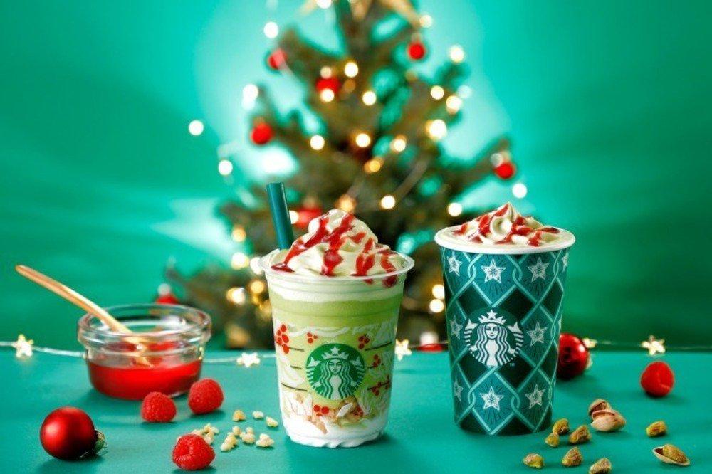 スターバックス「ピスタチオ クリスマス ツリー フラペチーノ」限定発売、クリスマスツリーをイメージ -