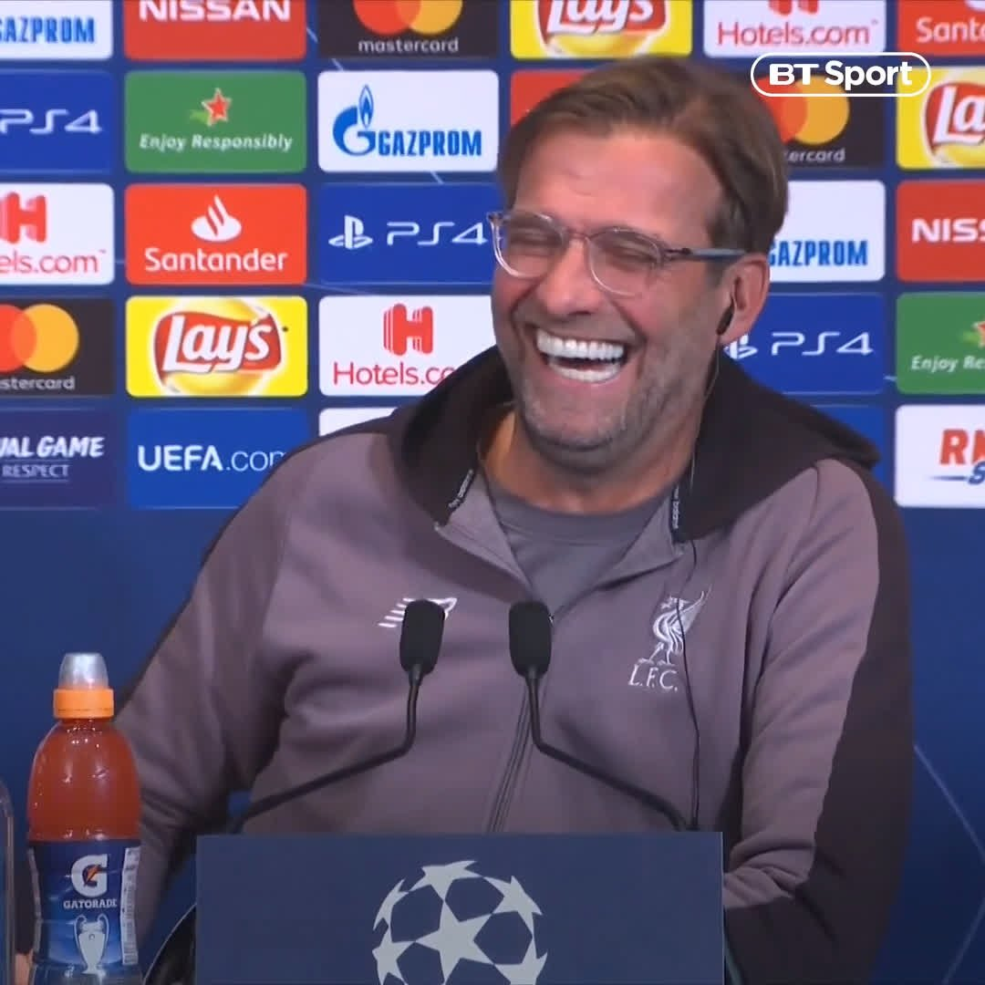 """That is a very erotic voice by the way!"" 😂  An all-time classic Klopp moment."