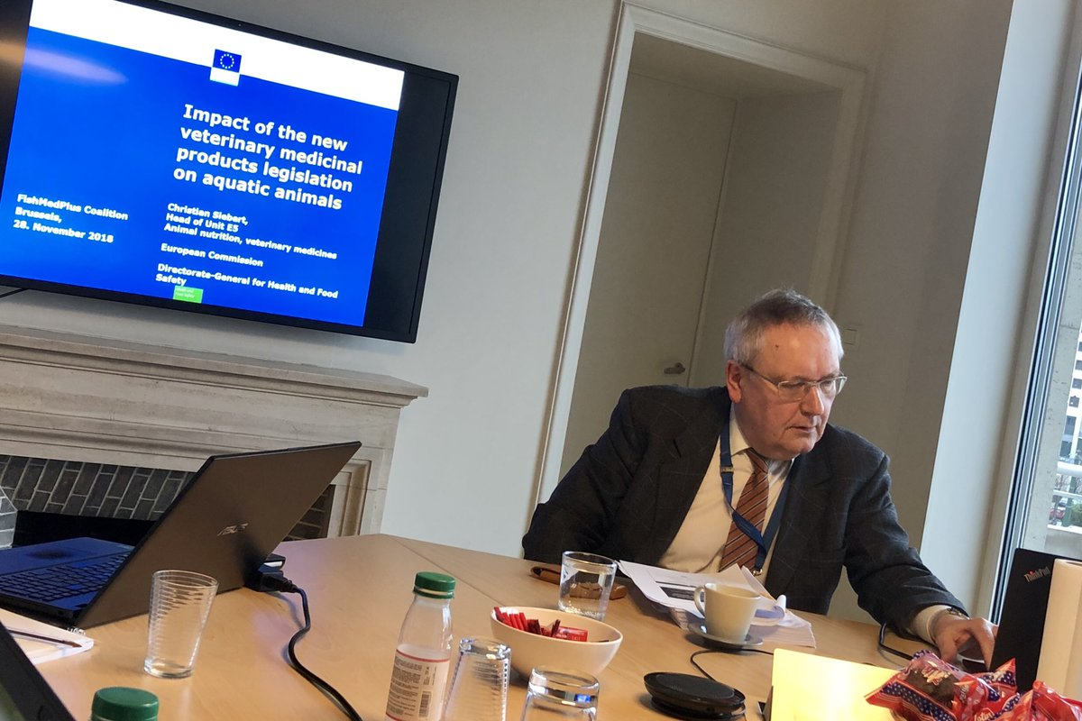 Christian Siebert, Head of #AnimalFeed & #VeterinaryMedicines at #DGSanté, discusses impact of new #VetMed products legislation on #aquatic animals at @FVEurope #FishMedPlus Coalition meeting in Brussels, this afternoon 🐟 #FishHealth #FishWelfare #sustainability