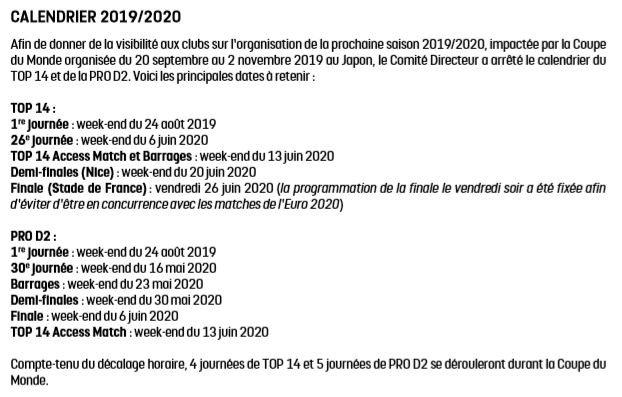 Calendrier Top 14 Saison 2020 2019.Philippe Kallenbrunn Ar Twitter Saison 2019 2020 4